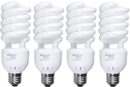 Full Spectrum Light Bulb ALZO 27W Compact Fluorescent CFL - Pack of 4 - 5500K Daylight - 120V - Joyous Light Pure White Light