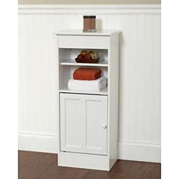 Zenith Products Wood Floor Stand High Storage Cabinets Designed for the Bathroom with Adjustable Shelf, White Finish