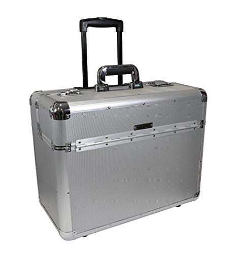 Zoomyo-Travelride-Aluminium-Piloten-Koffer-Trolley-in-edlem-Silberdesign-mit-ausfahrbarem-verstrktem-Teleskopgriff-inklusive-A4-Dokumenten-und-Notebook-Tabletfach-und-Kombinationsschloss