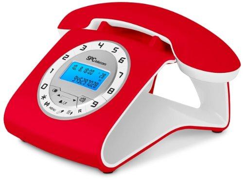 Teléfono fijo digital rojo