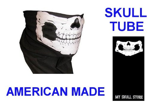 Custom Skull Neck Tube Face Mask Motorcycle Tubular Bandana Head Hat Wear Skeleton Jawbone Biker Snowboard Neck Warmer Seamless Buff Motley Gaiter Stretchable Wind Bugs Dust Shield Snowmobile Ski Mw2 Ghost Tie (No Fangs) USA Made Headwear