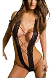 Amour - Sexy Lace Teddies Open Back Crotchless Lingerie Nightwear