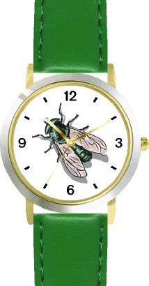 Fly or Housefly Insect - Animal - WATCHBUDDY DELUXE TWO-TONE THEME WATCH - Arabic Numbers - Green Leather Strap-Size-Children's Size-Small ( Boy's Size & Girl's Size )