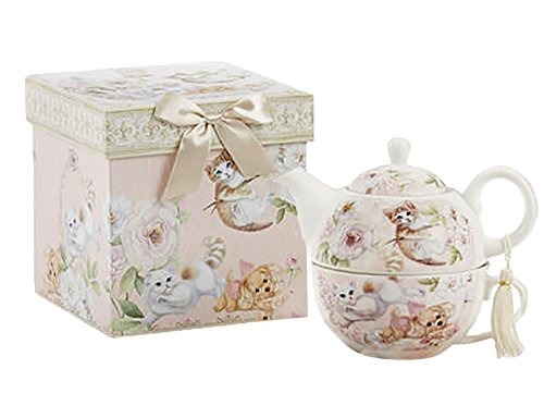 Delton Products Porcelain Tea For One, Teapot & Cup, Kittens & Puppy Pattern (Teapots For One compare prices)