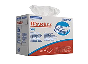 """Kimberly-Clark Wypall X50 Disposable Wiper, 12-1/2"""" Length x 9-3/32"""" Width, White (10 Packs of 176)"""