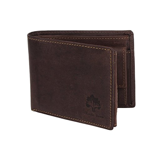 RFID Blocking Genuine Leather Wallets for Men by Rustic Town RFID Wallets (Dark Brown)