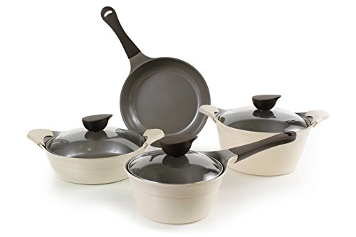 Neoflam Eela 7 Piece Ceramic Nonstick Cookware Set in Ivory