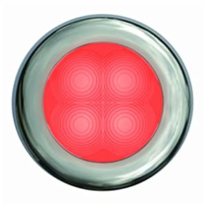 HELLA 980507221 '0507 Series' Slim Line Red 12V DC Round Soft LED Courtesy Light with Polished Stainless Steel Rim