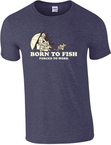 Born to Fish pesca 360-Maglietta da pesca, taglia da S a XXL Blu scuro mélange Medium
