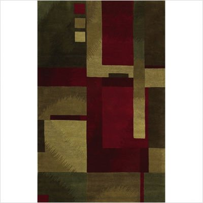Flow Vegas Green / Red Contemporary Rug Size: 5' x 8'