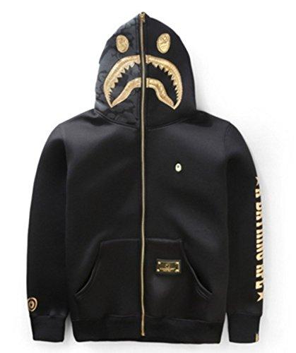 2017 Black gold APPE hoodie autumn spring winter wadded fashion warm embroidery shark hooded hoodies hip hop streetwear zipper outwear