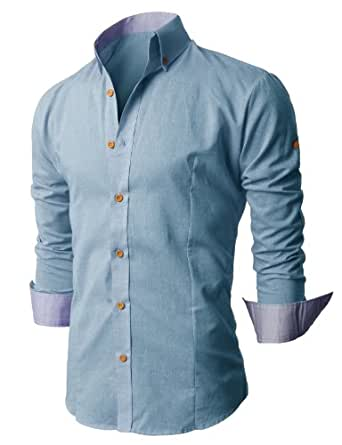 h2h mens fashion linen vintage button shirts with