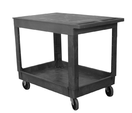 Wesco 270493 Plastic Standard Service Cart, 2 Shelves, 500lbs Load Capacity, 32-1/2
