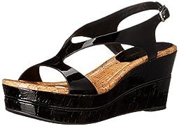 Donald J Pliner Women\'s Delon2-26 Wedge Sandal, Black, 7.5 M US