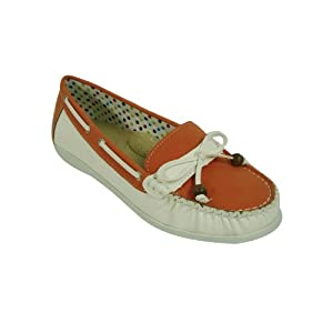 Spicy Women's Orange/White Bow Tie Bead Moccasin Loafter (F689)10 M US