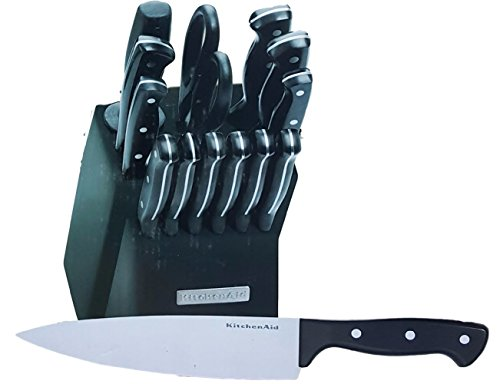 Kitchen Aid 14 Piece Fine Edge Ultra Sharp Cutlery Stainless Steel Knife and Black Handles Set with Traditional Hardwood Block (Black) (Kitchenaid Knife Set With Block compare prices)
