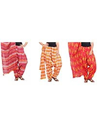 Rama Set Of 3 Printed Multicolor Cotton Full Patiala With Dupatta Set - B01N9MMBJR