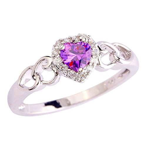 Psiroy 925 Sterling Silver Grace Womens Band Charms Gorgeous 5mm*5mm Heart Cut Amethyst Filled Ring