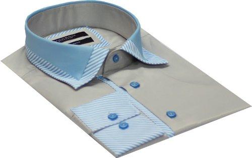 Italian Design Men's Formal Casual Shirt Contrast Collar Gray Colour Slim Fit