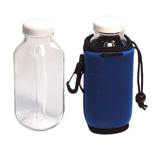 2 PAK: 16 oz. Wide-Mouth Water/Sports Bottle: Almost Unbreakable Glass with Protective Koozies