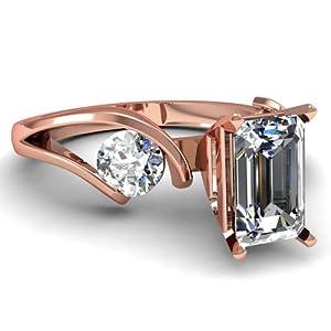 1.30 Ct Emerald Cut Diamond Three Stone Swirl Engagement Ring FLAWLESS GIA 14K