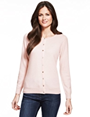 M&S Collection Pure Cashmere Crew Neck Cardigan