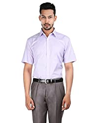 Oxemberg Men's Checkered Formal Cotton Poly Heather Shirt