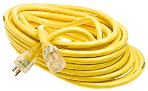 Yellow Jacket 2805 10/3 Heavy-Duty 15-Amp SJTW Contractor Extension Cord with Lighted End, 50-Feet