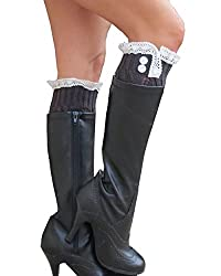 Lace Boot Socks, Leg Warmers with 2 Buttons by Sweetly Savvy (Coal Gray)