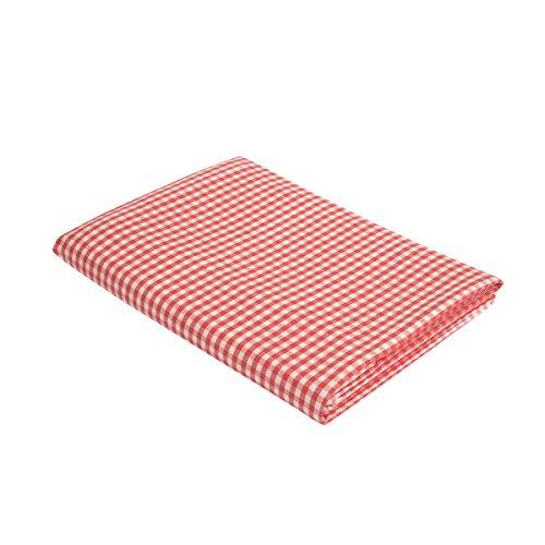 """Vaitkute 210024 Halbleinen Tischdecke """"Karo"""" 140 x 180 cm, mit Briefecken, 50% Leinen und Baumwolle, 40 Celsius waschbar, 210 g / m2, weiß / rot kariert"""