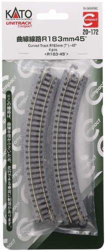 "Kato USA Model Train Products UNITRACK Compact Tracks (4-Piece), 183mm/(7"") Radius/45-Degree"