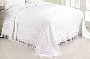 Amazon.com: Modern Heirloom Collection Annrose Chenille Sham, Standard, White: Home & Kitchen