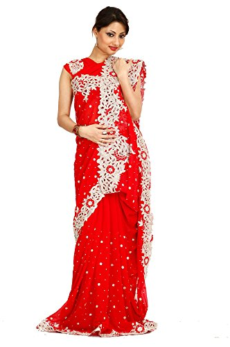 Bawree Georgette Saree [135658_Blood Red]