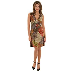 MT Collection Women's Short Sun Dress with Peacock Paisley Print and V-Neckline