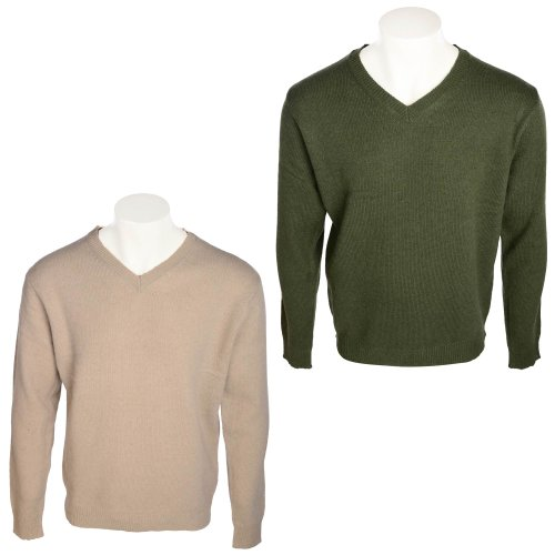 Harbour Collection Men's 2 Pack Forest Green & Stone 100% Lambswool Jumpers in Size Large