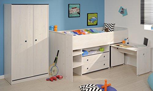 parisot hochbett mit schrank smoozy 25 wei. Black Bedroom Furniture Sets. Home Design Ideas
