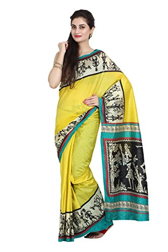 Parchayee Women Synthetic Sarees (93686 _Yellow _Free Size)