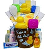 Rub a Dub Dub It's Time For Tub Baby Gift Basket, Neutral Boys or Girls