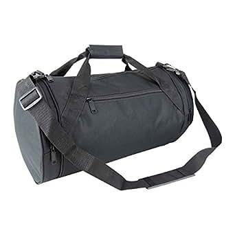 "18"" Round Duffle Bag Flexible Roll Bag in Black Gym Bag"
