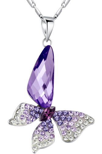 Stylized Butterfly Wing Drop Austrian Crystal Pendant Necklace (Purple) (Crystal Butterfly Pendant compare prices)