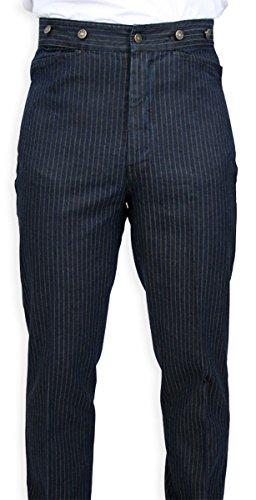 Historical Emporium Men's Cotton Humboldt Striped Trousers 34 Navy (Period Pants compare prices)