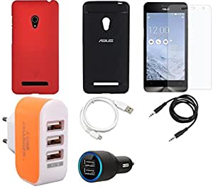 NIROSHA Tempered Glass Screen Guard Cover Case Car Charger USB Cable Charger for ASUS Zenfone 5 - Combo