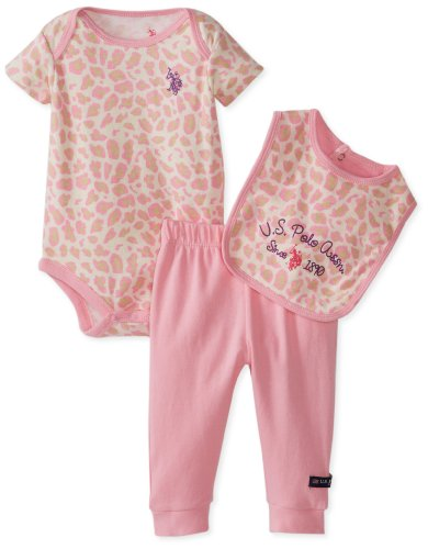 U.S. Polo Assn. Baby-Girls Newborn Printed Bodysuit Bib With Solid Pant, Prism Pink, 6-9 Months