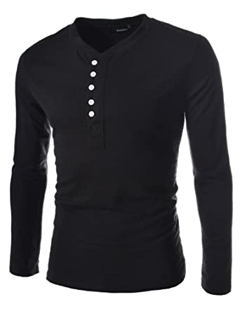 TheLees (DK12) Mens casual slim fit button point long sleeve tshirts 2Black Medium(US Small)
