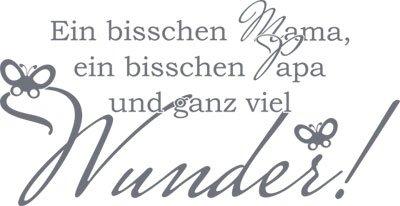 Wandtattoo Aufkleber Tattoo für Kinderzimmer Spruch Ein bisschen Mama/Papa (58x30cm//071 grau)