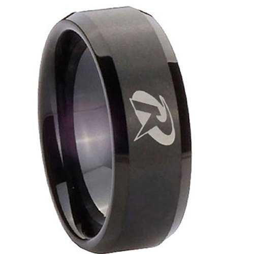8Mm Tungsten Carbide Robin Laser Matte Black Flat Top Engraved Ring Size 7