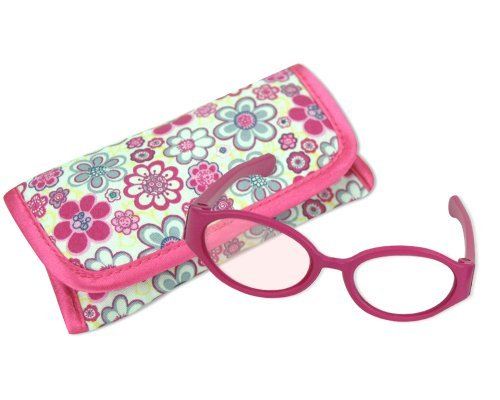 18 Inch Doll Pink Sunglasses & Case, 2 Pc. Set, Perfect for 18 Inch American Girl Dolls Clothes & More! by Sophia's, Hot Pink Doll Glasses & Floral Print Eyeglass Case