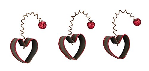 Primitives By Kathy Miniature Ornaments – Open Metal Heart – Red Glitter