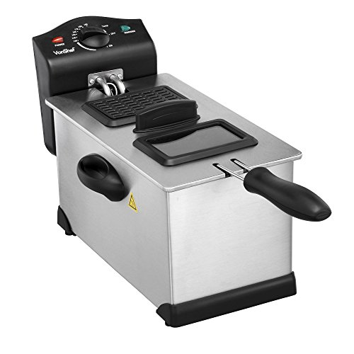VonShef 3 Litre Stainless Steel Deep Fat Fryer with Viewing Window