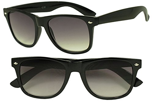 Sunglass Stop - Vintage Round Unisex Rx Optical Wayfarer Reading Sun Readers Glasses Strength +1.00 Thru +3.50 (Black, 1.5 x) (Extra Wide Reading Glasses compare prices)